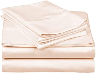 True Luxury 1000-Thread-Count 100% Egyptian Cotton Bed Sheets, 4-Pc Queen Cream Sheet Set, Single Ply Long-Staple Yarns, S...