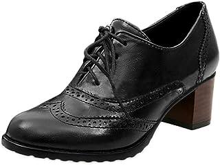 [マインサム] レディース パンプス オックスフォード 歩きやすい ハイヒール マニッシュシューズ ブーティ 太めヒール シューズ カジュアル おじ靴