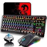 Set tastiera e mouse da gioco cablati, layout Regno Unito 88 tasti Tastiera meccanica retroilluminata arcobaleno+mouse da gioco retroilluminato cablato+tappetini per mouse(interruttore blu, nero)