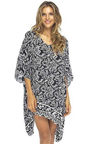 Back From Bali Womens Beach Swimsuit Cover Up Dress Caftan Floral Short Poncho Bun Black