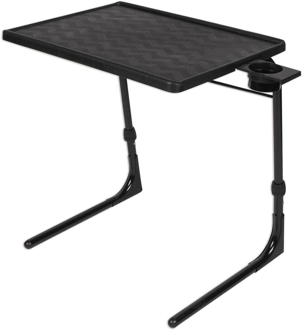Table-Mate II Plus Stable-Tech Folding TV Tray Tables with Cup Holder - Lightweight Adjustable 6 Height 3 Tilt Angle Adjustments - TV Dinner Tray with Compact Storage (Black)