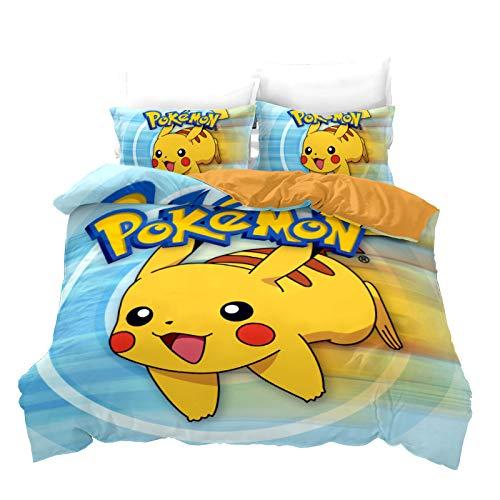 SK-YBB Funda de edredón Pokemon Pikachu, 3D de microfibra impresa Pokémon Cartoon funda de edredón, funda de almohada, funda de almohada (A3, King 240 × 220 cm)