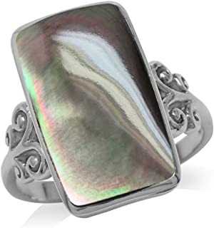Black Mother of Pearl Inlay White Gold Plated 925 Sterling Silver Swirl and Spiral Ring