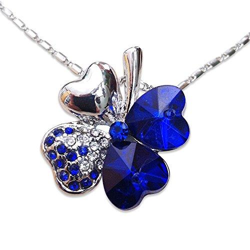 Orion Creations Swarovski Elements Blau Klee Halskette. 18-Zoll-Kette. Platin beschichtet im Geschenkkarton
