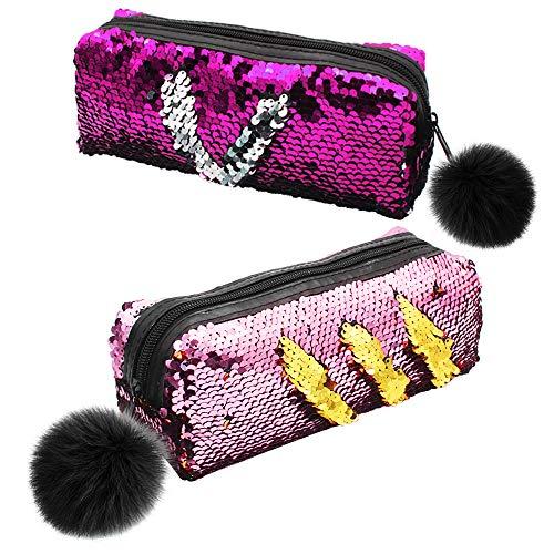 2 stuks glitter pailletten pennenmapje stiftetui pailletten potloden tas zeemeermin omkeerbare pailletten make-up tas glitter pailletten make-up tas voor meisjes en vrouwen