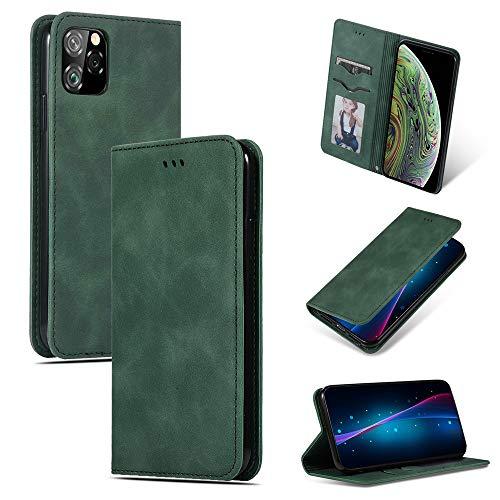 futypei für iPhone 11 Pro Max Hülle, Slim Leder Flip Case [Stoßfest] [Kartensteckplatz] Magnetisch Ledertasche Handyhülle Schutzhülle Tasche Brieftasche Etui für iPhone 11 Pro Max Grün