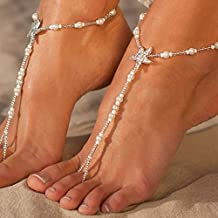 Artmiss Boho Starfish Barefoot Sandals Women Beaded Bracelets Anklet Foot Chain Jewelry for Girls 1PC