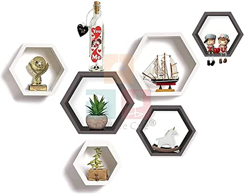 Furniture Cafe Hexagon Wall Shelf For Home Decor Wooden Shelves Showcase Furniture For Home Use For Inside The Roof Indoor As Well Outdoor Bedroom Kitchen Offices And More Places Set of 6 Color Grey White