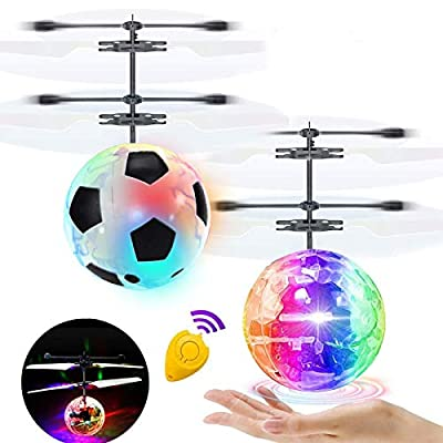 2 Pack Flying Ball Kids Toys RC Flying Toys Hand Controlled Helicopter Infrared Induction RC Flying Light Up Ball for Boy Girl Holiday Christmas Toys Gift Indoor Outdoor Game RC Drone Toy Rechargeable from AMENON