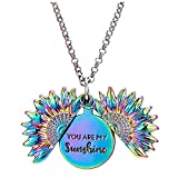 AllIwant You are My Sunshine Necklace - Unique Sunflower Double-Layer Letter Pendant - Gift for Mom,Sister,Friend,and Girlfriend, Ideal for Birthdays, Christmas Day, Valentine's Day