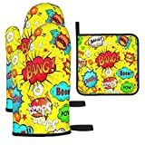 Fonsmay Cooking Gloves and Pot Holders, Comics Speech Bubbles Beep Wow Oven Mitt for Kitchen Barbecue Baking for Christmas Anti-Ironing Non-Silp Gloves