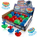 Liberty Imports 12-Pack LED Light Up Flashing UFO Spinning Tops with Gyroscope Novelty Bulk Toys Party Favors (NO Music)