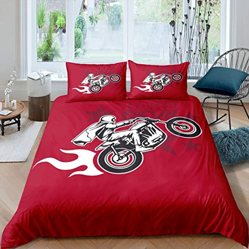 Erosebridal Dirt Bike Comforter Cover Motocross Rider Duvet Cover Motorcycle Extreme Sport Bedding Set Motorbike Star Cartoon Design Red Quilt Cover for Boy Teenage Young Man, 3Pcs King Size