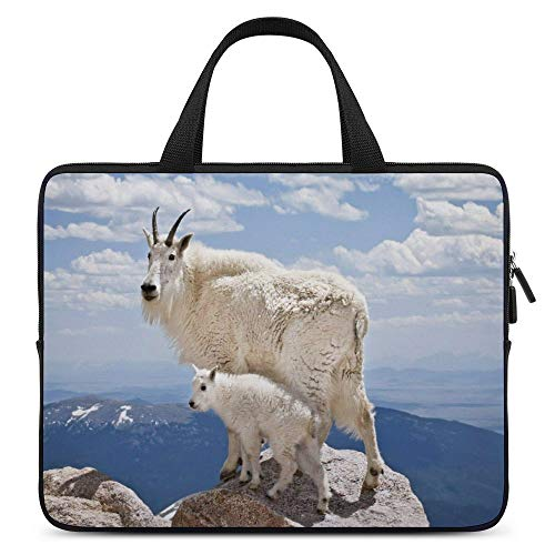 Laptop Sleeve Case Protective Bag Mountain Goat Baby Goat Wild Animal Computer Bag Compatible with 15.6 Inch Water Resistant Durable Multifunctional Briefcase Bag