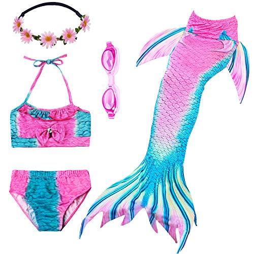 PTHTECHUS Mädchen Badeanzüge Meerjungfrauenschwanz Zum Schwimmen Bikini Kostüm Bademode mit Kopf Garland und Taucherbrille Schwimmbrill