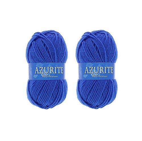Lot 2 Pelote de laine Azurite 100% Acrylique Tricot Crochet Tricoter - Bleu - 1338