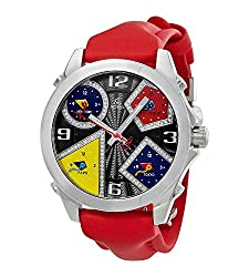 Five Time Zone Black Guilloche Diamond Dial Men's Watch JCM-58DA