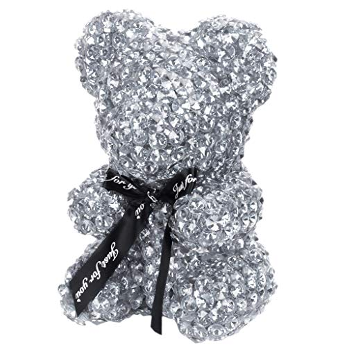 Generic 22cm Handmade Rhinestone Drill Foam Bear Modeling Craft Gift Christmas Valentine's Day Wedding Home Decoration Silver