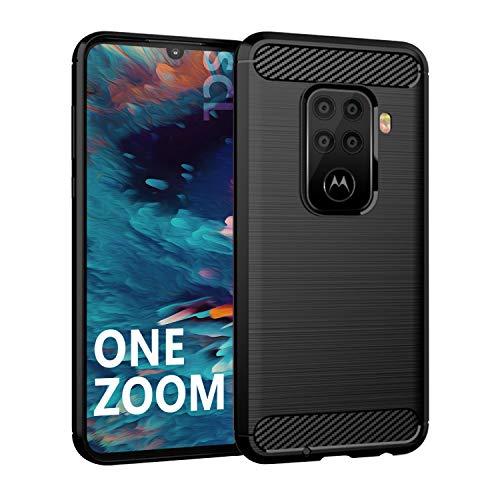 SCL Hülle Für Motorola One Zoom Hülle Moto One Zoom Handyhülle Exquisite Serie-Carbon Design Schutzhülle mit Anti-Kratzer & Anti-Stoß Absorbtion Technologie [Schwarz]