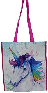 Wildlife Tree Reusable Unicorn Animal Print Waterpaint Grocery Tote Bag, Large and Durable with Reinforced Handles