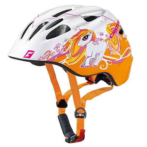 Cratoni Fahrradhelm Kinder Akino, White-orange Glossy Pony, Gr. S (49-53 cm)