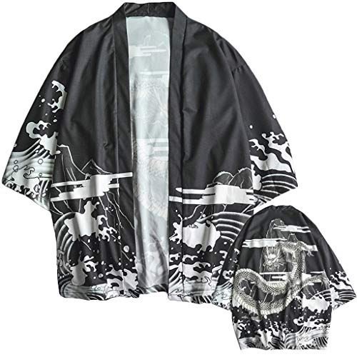 Lazzboy Uomo Unisex Lovers Character Stampa Top Camicetta Kimono Hot Spring Spa Cover-up Beach Shrug(L,Nero-Drago)