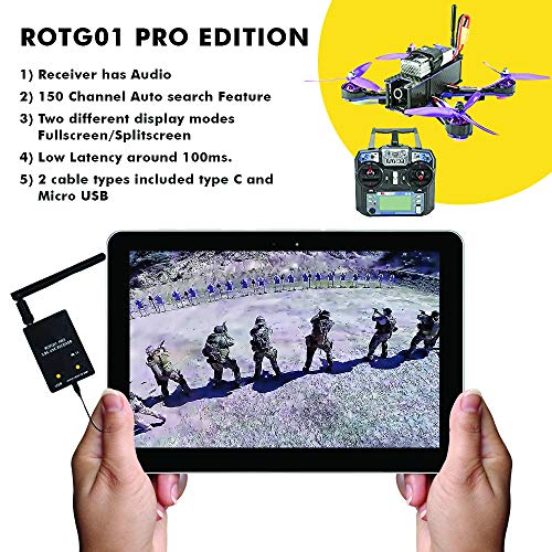 Bigly Brothers ROTG01 PRO Edition FPV Receiver UVC OTG 5.8G 150CH Full Channel FPV Receiver Android with Audio for Mobile Android Smartphone - Black