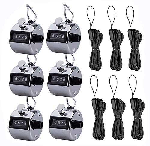Kissmi Pack of 6 Hand Tally Counter 4 Digit Mechanical Palm Click Number Counter Handheld Counter Clicker with Nylon Lanyard