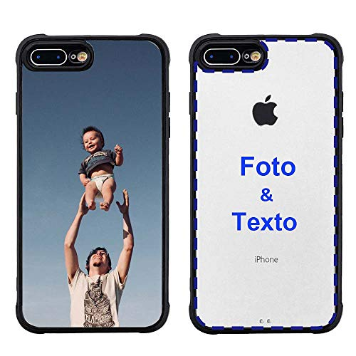 MXCUSTOM Funda Personalizada para Apple iPhone 7 Plus /8 Plus, Carcasa Personalizado Teléfono móvil Transparente con Foto Imagen Texto Diseña [Parachoques Blando Negro+Panel Posterior Dura](PHT-BK-P1)