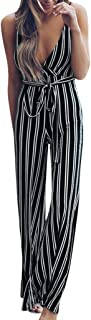 Sunhusing Women's Sexy Sleeveless Deep V-Neck Sling Backless Stripe Printed Belt Strappy Jumpsuit Pants