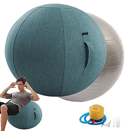 Rbanbow Pelota Pilates Grande Silla Ergonomica Oficina 55/65/75cm Pelota Yoga, Fitness, Embarazo Fitball para Ejercicios Gimnasia con Cubierta De Tela Entrenamiento Equilibrio