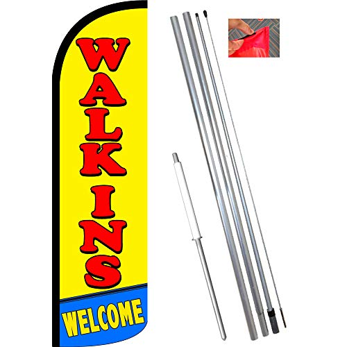 Walk-ins Welcome Windless Feather Flag Bundle (11.5' Tall Flag, 15' Tall Flagpole, Ground Mount Stake)