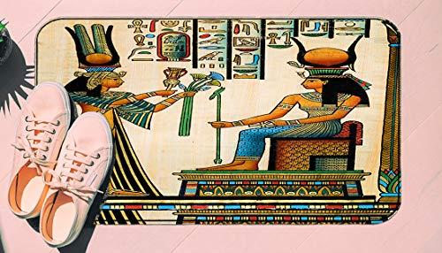 DIIRCYB Door Mat Indoor Outdoor Non-Slip Washable Doormat,Old Egyptian Papyrus Depicting Queen Nefertari with Historical Empire,DIY Cropping Rug,for Home Kitchen Bedroom Bathroom Floor Carpet15.7 X 2
