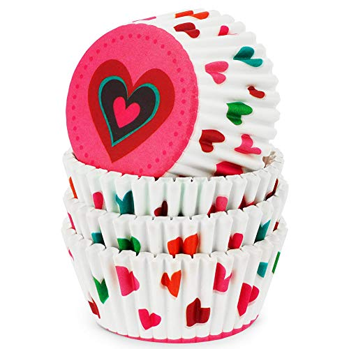 Papel para Cupcakes,QSXX 100 Piezas Moldes de Papel para Magdalenas,Grande Papel para Magdalenas,Moldes de Papel para Magdalenas Diseño de Corazones Mold para Magdalenas para Hornear Magdalenas