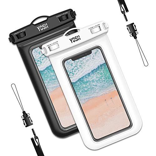YOSH wasserdichte Handyhülle universal Tasche 2 Stück Wasserschutzhülle Urlaub 6,8 Zoll Waterproof Phone Hülle Kompatibel mit iPhone 12 11 Pro XS Max XR X Samsung S9+ (weiß und schwarz)