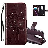 HMTECHUS LG Leon 4G LTE H340N Case 3D Crystal Embossed Love Cat Butterfly Handmade Diamonds Bling PU Flip Stand Card Holders Wallet cover for LG Leon 4G C40 Wishing Tree Brown KT