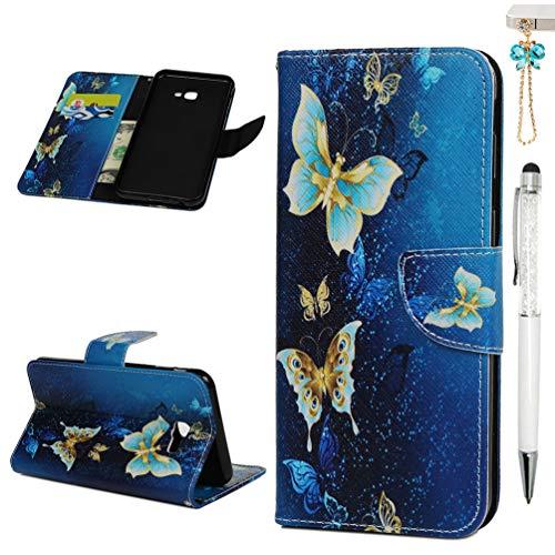 J4 Plus Handytasche Kompatible für Handyhülle Samsung Galaxy J4 Plus 2018 Hülle Case Muster Leder Tasche Flipcase Cover Silikon Schutzhülle Skin Ständer Klapphülle Schale Bumper Magnet-Schmetterling2