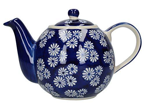 London Pottery Out of the Blue Globe Teekanne mit Sieb, Steingut, Marineblau, kleine Gänseblümchen, 4 Tassen (900 ml)