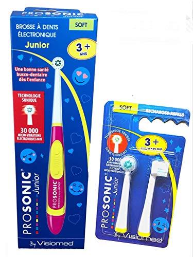Visiomed Kit Prosonic Junior – 1 cepillo de dientes con microvibración – 30.000 vibraciones/minuto – 1 caja visiomed con 2 cabezales flexibles (f)