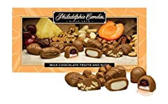 A sensational blend of Apricot Wedges, Cordial Cherries, Dates, Pineapple Wedges, and our finest milk chocolate covered nut assortment. Each 1 pound gift box includes approximately 32 pieces by weight: 3 x Apricot Wedge, 4 x Cordial Cherry, 4 x Date,...