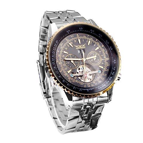 Jaragar automatische Automatik mechanische Armbanduhr mit analoger Anzeige Edelstahl Armband Unruh
