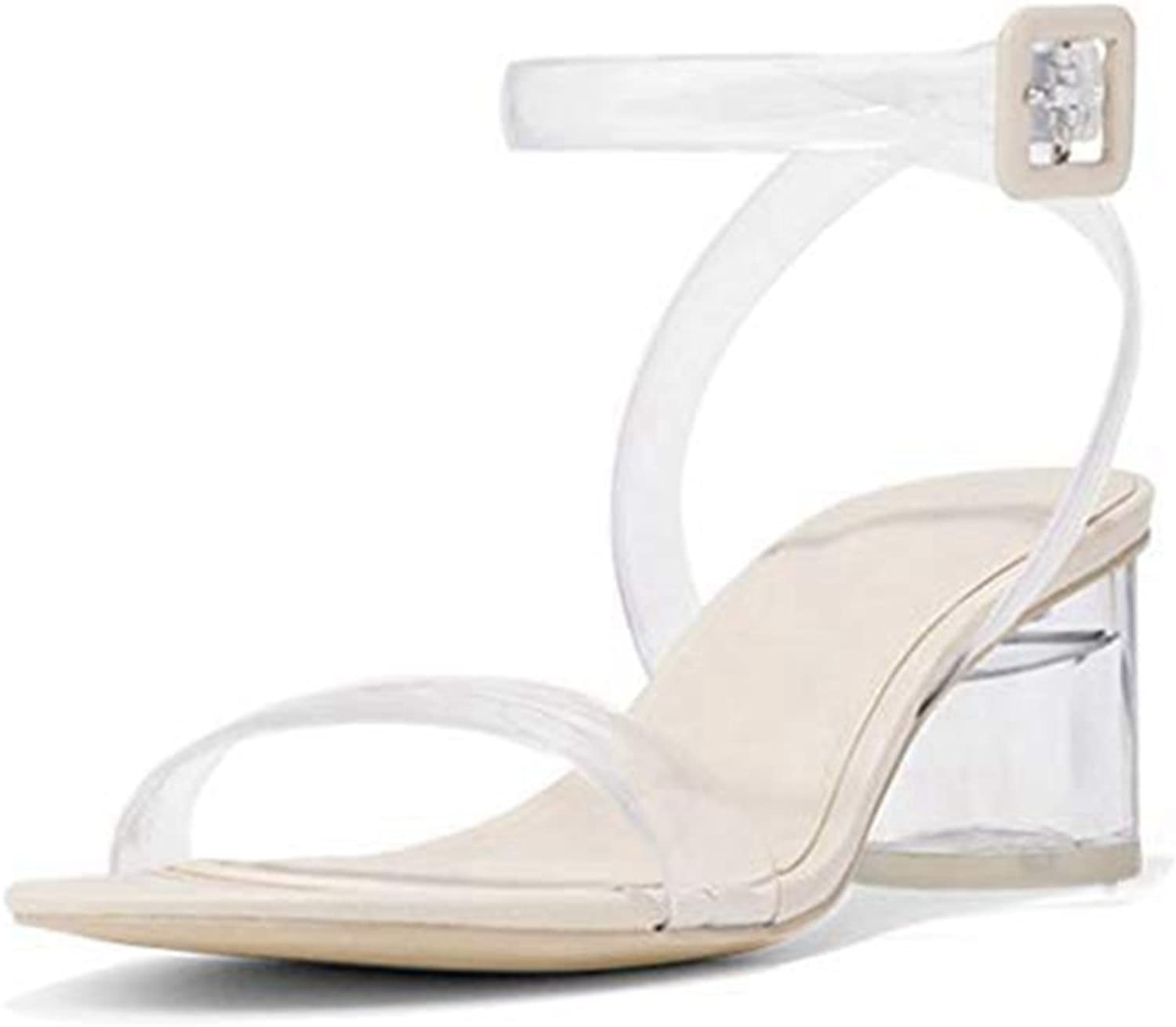 T-JULY Women's Lucite Clear Strappy Block Chunky High Heel Sandals Ankle Strap Adjustable Buckle Open Toe Slides