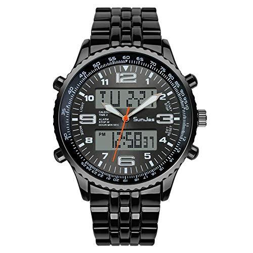SunJas Reloj de Pulsera para Hombre con LED Luz Pantalla Luminoso Multifunción Electrónica Impermeable al Agua hasta 30 m, Ideal para Deporte - Negro
