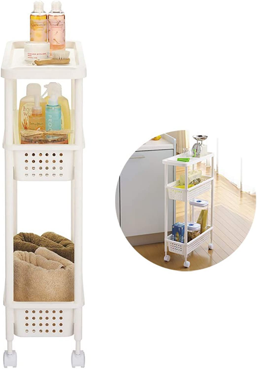 Slide Out Storage Tower Storage Cart Pull-Out Slide – Out Mobile Commodity Shelf Rack Organizer Unit with Wheels for Laundry, Bathroom & Kitchen 3-Tier
