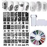 Nail Stamper Kit 4pcs Nail Art Stamping Plates Flower Leaves Image Template with...