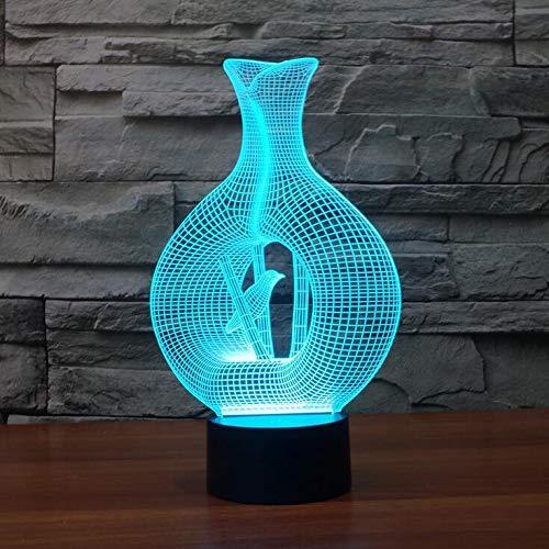 YNYEZBH Luces de Colores 3D Jarrón Abstracto Pájaros Iluminación LED para Dormitorio Luz de Noche Atmósfera Luces Fantasma Cumpleaños para niños