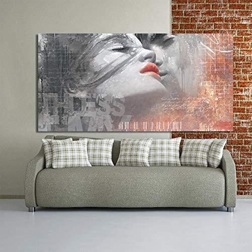 wZUN Graffiti Art Lienzo Pintura Carteles e Impresiones murales Amante Abstracto Besos decoración de la Sala Pintura 60x120 Sin Marco