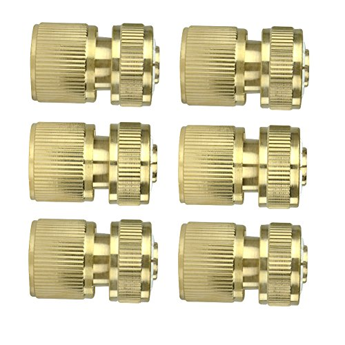 "6Pcs Brass Garden Lawn Water Hose Pipe Fitting 1/2"" Quick Connector"