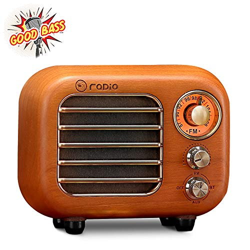 Retro Radio Vintage Bluetooth Speaker-Greadio Cherry Wooden FM Radio with Bluetooth 4.2 Connection, Old Fashioned Classic Style, Loud Volume, Good Bass Sound, TF Card/AUX in for Home, Office, Kitchen