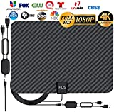 [Latest 2020] HDTV Digital Antenna 4K 1080p - 120 Mile Range, UHF & VHF Reception, ICPCB Chip, Signal Booster Amplifier, Professional Carbon Fiber Indoor TV Antenna